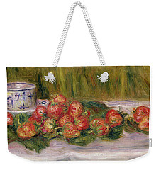 Still Life Of Strawberries And A Tea Cup Weekender Tote Bag by Pierre Auguste Renoir