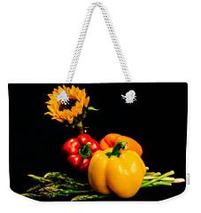 Still Life Peppers Asparagus Sunflower Weekender Tote Bag by Jon Woodhams