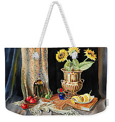 Still Life With Sunflowers Lemon Apples And Geranium  Weekender Tote Bag by Irina Sztukowski