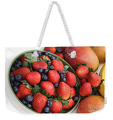 Strawberries Blueberries Mangoes And A Banana - Fruit Tray Weekender Tote Bag by Andee Design