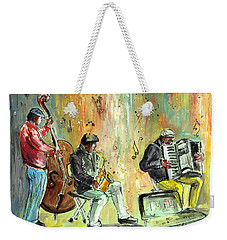 Street Musicians In Dublin Weekender Tote Bag by Miki De Goodaboom