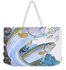 Striped Bass Rocks Weekender Tote Bag by Carey Chen