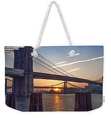 Sunrise - Brooklyn And Manhattan Bridges Weekender Tote Bag by Bill Cannon