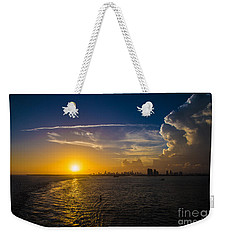 Sunset Over Miami From Out At Sea Weekender Tote Bag by Rene Triay Photography