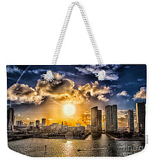 Sunset Over The Arena Hdr Weekender Tote Bag by Rene Triay Photography