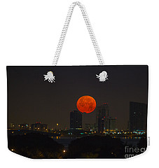 Super Moon Setting Over Miami Weekender Tote Bag by Rene Triay Photography