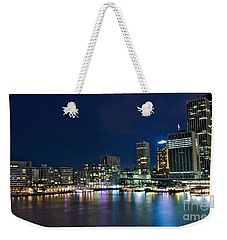Sydney Cityscape By Night Weekender Tote Bag by Kaye Menner