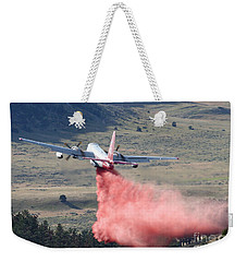 Weekender Tote Bag featuring the photograph Tanker 45 Dropping On Whoopup Fire by Bill Gabbert