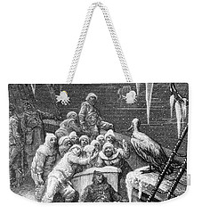 The Albatross Being Fed By The Sailors On The The Ship Marooned In The Frozen Seas Of Antartica Weekender Tote Bag by Gustave Dore