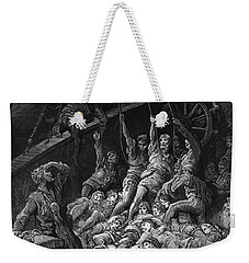 The Dead Sailors Rise Up And Start To Work The Ropes Of The Ship So That It Begins To Move Weekender Tote Bag by Gustave Dore