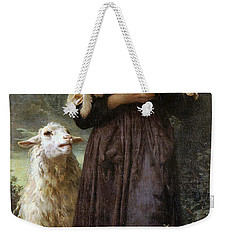 The Newborn Lamb Weekender Tote Bag by William Bouguereau