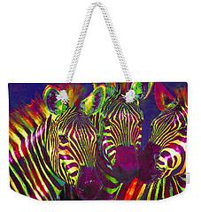 Three Rainbow Zebras Weekender Tote Bag by Jane Schnetlage