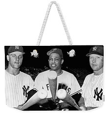 Three Slugging Outfielders Weekender Tote Bag by Underwood Archives
