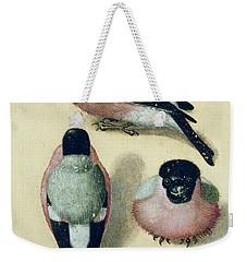 Three Studies Of A Bullfinch Weekender Tote Bag by Albrecht Durer