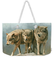 Three Wolves Weekender Tote Bag by David Stribbling
