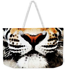 Tiger Art - Burning Bright Weekender Tote Bag by Sharon Cummings