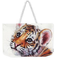 Tiger Cub Watercolor Painting Weekender Tote Bag by Olga Shvartsur