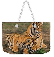 Tiger Cubs Weekender Tote Bag by David Stribbling