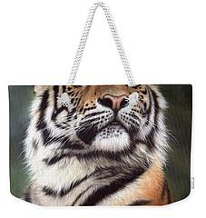 Tiger Painting Weekender Tote Bag by Rachel Stribbling