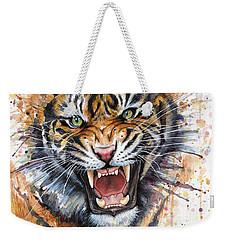 Tiger Watercolor Portrait Weekender Tote Bag by Olga Shvartsur