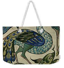 Tile Design Of Heron And Fish Weekender Tote Bag by Walter Crane