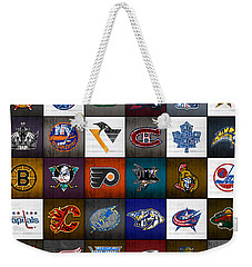 Time To Lace Up The Skates Recycled Vintage Hockey League Team Logos License Plate Art Weekender Tote Bag by Design Turnpike