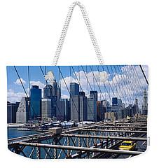 Traffic On A Bridge, Brooklyn Bridge Weekender Tote Bag by Panoramic Images