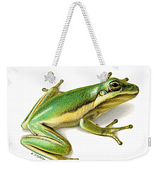 Green Tree Frog Weekender Tote Bag by Sarah Batalka