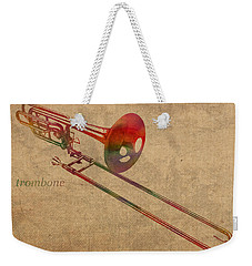 Trombone Brass Instrument Watercolor Portrait On Worn Canvas Weekender Tote Bag by Design Turnpike