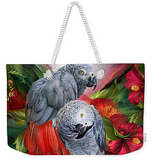 Tropic Spirits - African Greys Weekender Tote Bag by Carol Cavalaris