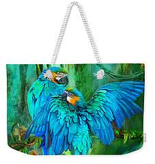 Tropic Spirits - Gold And Blue Macaws Weekender Tote Bag by Carol Cavalaris