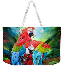 Tropic Spirits - Macaws Weekender Tote Bag by Carol Cavalaris