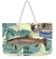 Trout Fishing In America Postcard Weekender Tote Bag by Carol Leigh