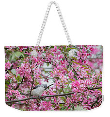 Tufted Titmouse In A Pear Tree Weekender Tote Bag by Bill Wakeley