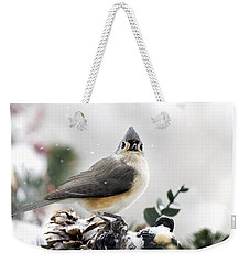 Tufted Titmouse In The Snow Weekender Tote Bag by Christina Rollo