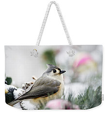 Tufted Titmouse Portrait Weekender Tote Bag by Christina Rollo
