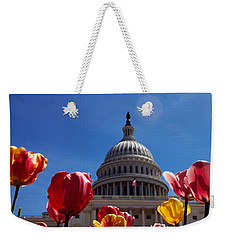 Tulips With A Government Building Weekender Tote Bag by Panoramic Images