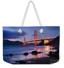 Twilight - Beautiful Sunset View Of The Golden Gate Bridge From Marshalls Beach. Weekender Tote Bag by Jamie Pham
