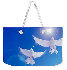 Two Doves Side By Side With Wings Weekender Tote Bag by Panoramic Images