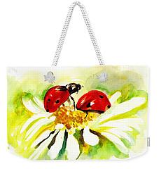 Two Ladybugs In Daisy After My Original Watercolor Weekender Tote Bag by Tiberiu Soos