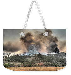 Weekender Tote Bag featuring the photograph Two Smoke Columns White Draw Fire by Bill Gabbert