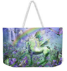 Unicorn Of The Butterflies Weekender Tote Bag by Carol Cavalaris