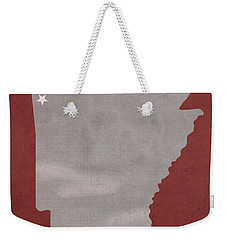 University Of Arkansas Razorbacks Fayetteville College Town State Map Poster Series No 013 Weekender Tote Bag by Design Turnpike