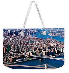Usa, New York, Brooklyn Bridge, Aerial Weekender Tote Bag by Panoramic Images