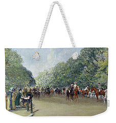 View Of Hyde Park With Figures On Rotten Row  Weekender Tote Bag by Albert Jnr Ludovici