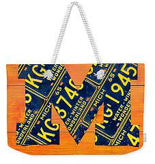 Vintage Michigan License Plate Art Weekender Tote Bag by Design Turnpike