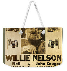 Vintage Willie Nelson 1985 Farm Aid Poster Weekender Tote Bag by John Stephens