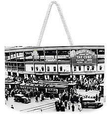 Vintage Wrigley Field Weekender Tote Bag by Simon Wolter
