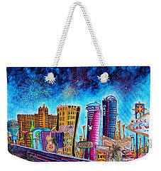 Viva Las Vegas A Fun And Funky Pop Art Painting Of The Vegas Skyline And Sign By Megan Duncanson Weekender Tote Bag by Megan Duncanson