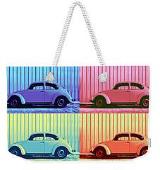 Vw Beetle Pop Art Quad Weekender Tote Bag by Laura Fasulo